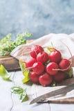 Bunch of fresh radish on dark boards, closeup. Large bunch of fresh radish on white wooden table, closeup Stock Photos