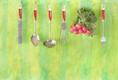 A bunch of fresh radish and hanging vintage kitchen utensils , helathy eating,vegetarian,cooking concept, copy space