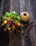 Bunch of fresh radish. On wooden background Royalty Free Stock Photography