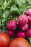 Bunch of fresh radishes and tomato Stock Images