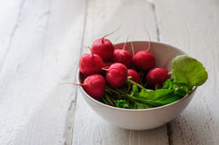 Bunch of fresh radishes in white bowl on white board Royalty Free Stock Photos