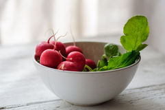 Bunch of fresh radishes in white bowl on white board Stock Photo