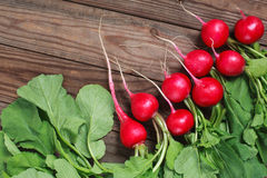 Bunch of fresh radishes on wooden table. Spring vegetables. A bouquet of fresh radish on a wooden table Stock Images