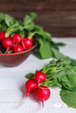 Bunch of fresh radishes on wooden table Royalty Free Stock Image