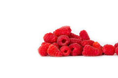 A bunch of fresh raspberries. A bunch of fresh red raspberries on a white background stock photos