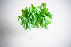 Bunch of fresh raw green parsley. In a glass on table view from the top selective focus Stock Photos
