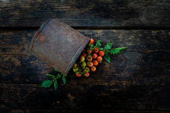 A bunch of fresh red tomatoes On the old dark wooden floor Stock Photography