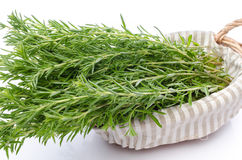 Bunch of fresh rosemary in a basket Stock Photo