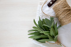 A bunch of fresh sage on light wooden table. Selective focus Stock Photo