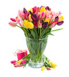 Bunch of fresh spring tulips in vase Royalty Free Stock Photos