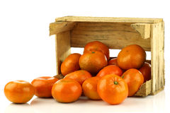 Bunch of fresh tangerines coming out of  a box Royalty Free Stock Images