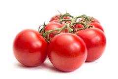 Tassel of fresh tomatoes. Isolated on white background Royalty Free Stock Images