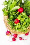 A bunch of fresh vegetables in a bowl basket on white wooden bac. A bunch of fresh different vegetables in a bowl wicker basket on white wooden background Royalty Free Stock Image