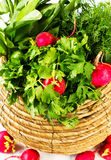 A bunch of fresh vegetables in a bowl wicker basket on white woo. A bunch of fresh different vegetables in a bowl wicker basket on white wooden background Stock Photos