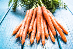 Bunch of fresh vibrant carrots from local market Royalty Free Stock Photo
