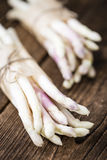 Bunch of fresh white Asparagus (close-up shot) Stock Images