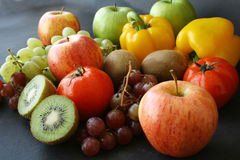 Bunch of fruits & vegetable. Bunch of fruits & vegetable on black Stock Photos
