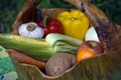Bunch of Fruits and Vegtables in a Basket Stock Images