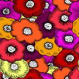Bunch Of Funky Floral. A Hand drawn Seamless repeating pattern of a Bunch of overlapping funky coloured floral flowers - Vector. Suitable for fashion, Crafting royalty free illustration
