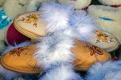 Bunch of furry slippers 1 Stock Photos