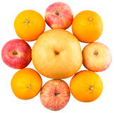 Bunch Of Gala Apples, Asian Pears And Orange II Stock Images