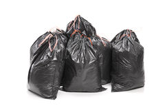 Bunch of garbage bags isolated on white background Stock Image