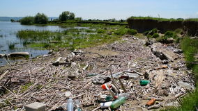 Bunch of garbage that the river washed at the shore. A bunch of garbage that the river washed at the shore stock video footage