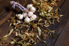 Bunch of garlic and lime flowers Stock Photography