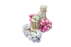 Bunch of garlics and red onion Stock Images