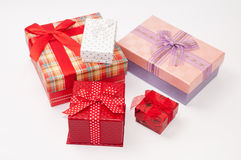 A bunch of gift box with bows Royalty Free Stock Images