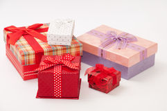 A bunch of gift box with bows Stock Photography