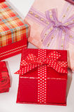 A bunch of gift box with bows Stock Photo