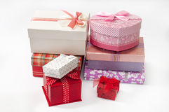 BUNCH GIFT BOXES BIRTHDAY LOVE ROMANCE Stock Photos