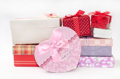 BUNCH GIFT BOXES BIRTHDAY LOVE ROMANCE Royalty Free Stock Images