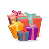 Bunch of gift boxes for merry christmas. Bright Xmas present  Royalty Free Stock Image