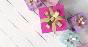 Bunch Of Gift Boxes On White Reflection Floor. 3D Rendering. Bunch Of Colorful Gift Boxes On White Reflection Floor. 3D Rendering Royalty Free Stock Photos
