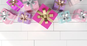 Bunch Of Gift Boxes On White Reflection Floor. 3D Rendering. Bunch Of Colorful Gift Boxes On White Reflection Floor. 3D Rendering Royalty Free Stock Photo