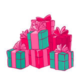 Bunch of gifts. Boxes with bows. Festive packaging. Vector illustration. T-shirt print. Greeting card Stock Image