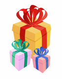 Bunch gifts. Vector illustration. Royalty Free Stock Images