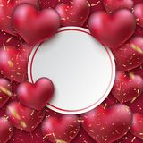 Bunch of glossy heart balloons. Royalty Free Stock Photos
