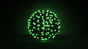 Bunch of glowing green balls abstract 3D render. Bunch of glowing green balls. Abstract sci-fi technology concept. Computer graphic 3D render stock illustration
