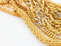 Bunch of gold chains Royalty Free Stock Image