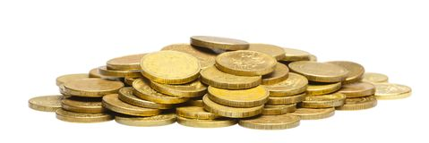 A bunch of gold coins. Isolated white Stock Photography