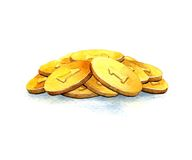 Bunch of gold coins Royalty Free Stock Image