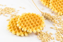 Bunch of golden baked waffle royalty free stock photo