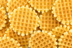 Bunch of golden baked waffle cookies Stock Photography