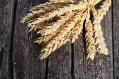 Bunch of golden ears of wheat on wood Stock Image