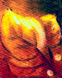 Bunch of golden leaves, painting detail with graphic effect. royalty free illustration