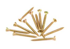 Bunch of golden screws Royalty Free Stock Image