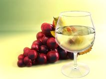 A bunch of grape and wineglass Stock Photos